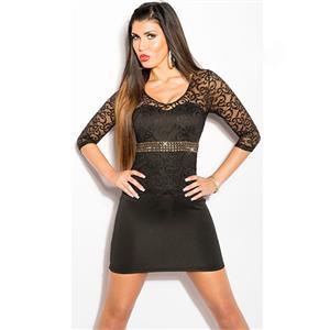 Short Sleeve Mini Dress, Black Lace Short Sleeve Dress, Rhinestone Lace Sleeve Dress, #N8228