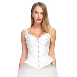 Fashion White Body Shaper Corset, Elegant White Shapewear Corset, Wide Shoulder Straps Overbust Corset, Plastic Bone Shapewear Overbust Corset, Sleeveless V Neck Outerwear Corset, Jacquard Overbust Corset for Women, #N18576
