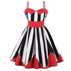 Vintage Dresses for Women, Sexy Dresses for Women Cocktail Party, Casual Mini dress, Stripe Print Swing Daily Dress, Shoulder Straps Mini Dresses, Patchwork Vintage Dresses, #N15583