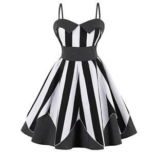 Vintage Dresses for Women, Sexy Dresses for Women Cocktail Party, Casual Mini dress, Stripe Print Swing Daily Dress, Shoulder Straps Mini Dresses, Patchwork Vintage Dresses, #N15584