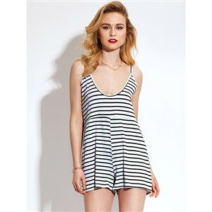 Rompers for Womens, Stripe Jumpsuits for Women, Spaghetti Strap Rompers, Sexy V Neck Rompers, Jumpsuit Romper, Fashion Jumpsuit, White and Black Rompers, #N14964