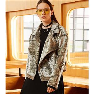Collared Silver Jacket, Fashion Coat for Women, Long Sleeve Loose Jacket, Silver Jacket for Women, Silver Casual Zipper Coat, Sexy Fashion Jacket, #N16029
