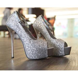 silver glitter fish head high heels sws12064. Black Bedroom Furniture Sets. Home Design Ideas