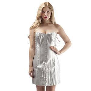 Lace Up Corset Dress, Silver Long Corset Partywear, Silver Corset Dress, Clubwear Silver Corset Dress, PVC Corset Dress for Women, #N15575