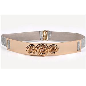 Luxury Metal Waist Belt, Rose Metal Silver Waist Belt, Vintage Waist Belt Silver, Waist Belt for Women, Fashion Dress Waist Belt, Elastic Girdle for Women, #N17005