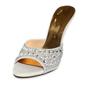 Satin High-heeled Mules, Rhinestone High-heeled Mules, Silver Stiletto Heel Mules, #SWH11081