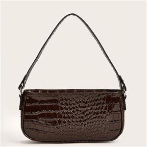 Crocodile Pattern Shoulder Bag, Simplicity Shoulder Bag, PU Leather Bags, Underarm Bag For Women,Zipper HandBag For Women, Classic Shoulder Bag,Crocodile Pattern HandBag, #N20703