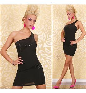 One Shoulder Sequin Dress, Sexy Mini Club Dress with Sequin, Diagonal Shoulder Strap Dress, #N7824