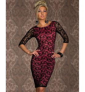 3/4 Sleeves Round Neckline Lace Dress, Long Sleeve Lace Print Dress, Paisley Lace Midi Dress, #N7665