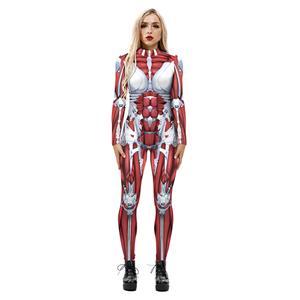 Horrible Skull Printed Jumpsuit, Halloween Skeleton High Neck Slim Fit Bodysuit, Halloween Bodycon Jumpsuit, Long Sleeve High Neck Jumpsuit, Halloween Skeleton Jumpsuit for Women, #N21247