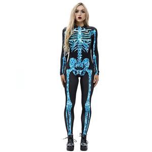 Horrible Skull Printed Jumpsuit, Halloween Skeleton High Neck Slim Fit Bodysuit, Halloween Bodycon Jumpsuit, Long Sleeve High Neck Jumpsuit, Halloween Skeleton Jumpsuit for Women, #N18233