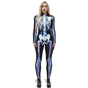 Horrible Skull Printed Jumpsuit, Halloween Skeleton High Neck Slim Fit Bodysuit, Halloween Bodycon Jumpsuit, Long Sleeve High Neck Jumpsuit, Halloween Skeleton Jumpsuit for Women, #N18234