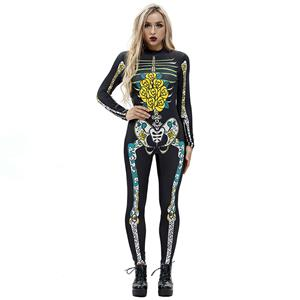 Horrible Skull Printed Jumpsuit, Halloween Skeleton High Neck Slim Fit Bodysuit, Halloween Bodycon Jumpsuit, Long Sleeve High Neck Jumpsuit, Halloween Skeleton Jumpsuit for Women, #N18239