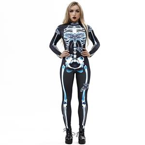 Horrible Skull Printed Jumpsuit, Halloween Skeleton High Neck Slim Fit Bodysuit, Halloween Bodycon Jumpsuit, Long Sleeve High Neck Jumpsuit, Halloween Skeleton Jumpsuit for Women, #N18240