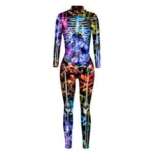 Horrible Skull Printed Jumpsuit, Halloween Skeleton High Neck Slim Fit Bodysuit, Halloween Bodycon Jumpsuit, Long Sleeve High Neck Jumpsuit, Halloween Skeleton Jumpsuit for Women, #N21400