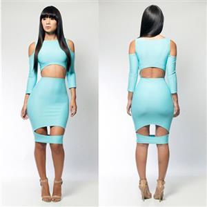 Long Sleeve Slim Dress, Cut Out Bodycon Dress, Blue Knee-Length Dress, #N6649