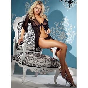 Sleeve Sleepwear, Black Mesh Sleepwear, Black Mesh Chemise, #N5622