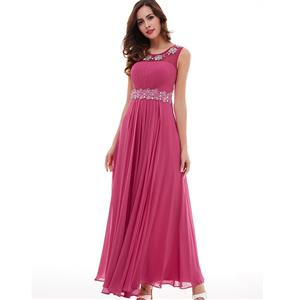 Sleeveless Round Neck Dress, Beaded Appliques A-Line Dress, Women