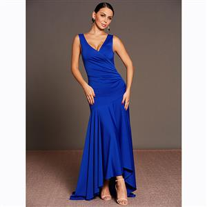 Sleeveless Dress, Deep V Neck Dress, Maxi Dress, Pleated Dress, Elegant Dresses for Women, Solid Color Dresses, Asymmetrical Dress, Party Dresses for Women, #N15592