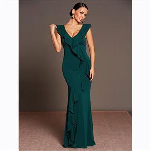 Sleeveless Dress, Deep V Neck Dress, Maxi Dress, Falbala Dress, Elegant Dresses for Women, Solid Color Dresses, Backless Dress, Party Dresses for Women, #N15591