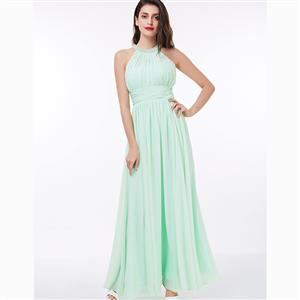 Sleeveless Halter Dress, Beaded Ruched Maxi Dress, Mint Green Halter Backless Dress, Women
