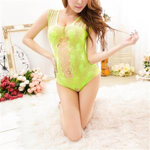Sleeveless See-through Teddy Lingerie, Sexy Light Green Hollow Out Teddy Lingerie, Sexy Hollow Out See-through Bodysuit Lingerie, Valentine