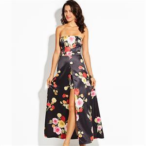 Sleeveless Dress, Floral Print Dress, Off Shoulder Dress, Maxi Dress, Elegant Dresses for Women, Slit Dress Long, Backless Dress, Double-Layered Dress, #N15569