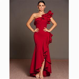 Sleeveless Dress, One Shoulder Dress, Asymmetric Dress, Maxi Dress, Falbala Dress, Elegant Dresses for Women, Solid Color Dresses, Oblique Collar Dress, #N15580