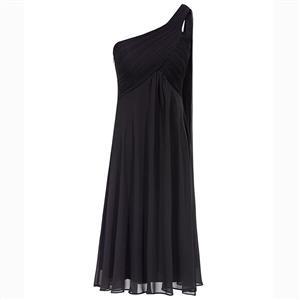 Sleeveless One Shoulder Dress, Pleated Chiffon A-Line Dress, Women