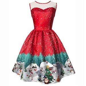 Sleeveless Christmas Dress, Christmas Swing Dress, Christmas Party Tea Cocktail Dress, Floral Print Dress, Christmas Gifts Dress, #N14992