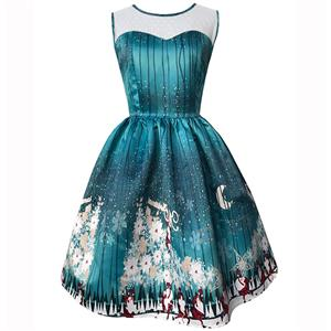 Sleeveless Christmas Dress, Christmas Swing Dress, Christmas Party Tea Cocktail Dress, Floral Print Dress, Christmas Gifts Dress, #N14994