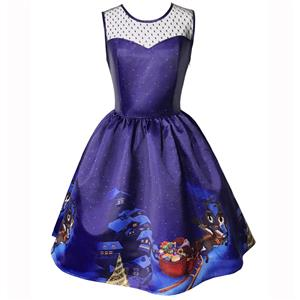 Sleeveless Christmas Dress, Christmas Swing Dress, Christmas Party Tea Cocktail Dress, Floral Print Dress, Christmas Gifts Dress, #N14995