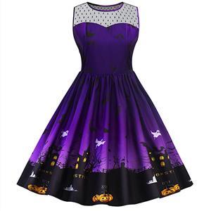 Sleeveless Halloween Dress, Halloween Swing Dress, Halloween Party Tea Cocktail Dress, Floral Print Dress, Halloween Gifts Dress, Halloween Costume, #N14996
