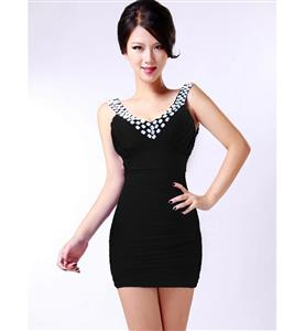 V-Neck Ruffle Stretch Bodycon Dress, Sleeveless Rhinestone Package Hip Dress, White Club Evening Cocktail Dress, #N9078