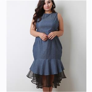 Sleeveless Dress, Round Neck Dress, Plus Size Dresses for Women, Patchwork Dress, Mid-Calf Dress, Plain Dresses for Women, Slim Fit Dress, Party Dress for Women, #N15542