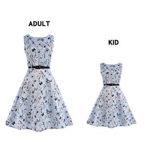 Vintage Dresses for Mother and Daughter, Floral Print Family Matching Dress, Sleeveless Round Collar Printed Dress, Back Zipper Family Matching Dress, Retro Dresses for Mother and Daughter, A-Line Mother and Daughter Family Matching Dress, #N15482