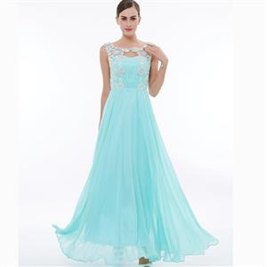 Sleeveless Round Neck Dress, Cyan Beaded Appliques Maxi Dress, Appliques Chiffon Long Dress, Women