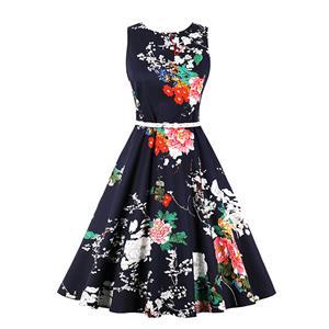 Vintage Sleeveless Summer Dress, Retro Round Neck Swing Day Dress, Women