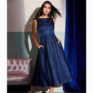 Sleeveless Dress, Round Neck Dress, Midi Dress, A-Line Dress, Elegant Dresses for Women, Solid Color Dresses, Sequins Dress, Pockets Dress, Back Zipper Dress, #N15590