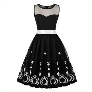 Vintage Sleeveless Summer Dress, Retro Round Neck Swing Day Dress, Casual Sleeveless Crochet Midi Dress, Women