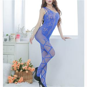 Sexy Sleeveless Mesh Bodysuit Lingerie, Blue See-through Crotchless Bodystocking, Sleeveless See-through Bodystocking Lingerie, Sexy See-through Crotchless Bodystocking, Hollow Out See-through Open Crotch Bodystocking, #BS16995