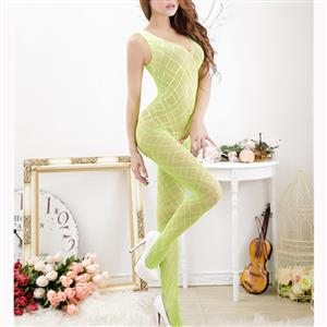 Sexy Sleeveless See-through Bodysuit Lingerie, Light Green See-through Crotchless Bodystocking, Sleeveless Mesh Grid Pattern Bodystocking Lingerie, Grid Pattern See-through Mesh Bodystocking, See-through Mesh Open Crotch Bodystocking, #BS17082