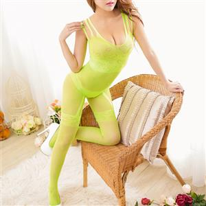Sexy Sleeveless See-through Bodysuit Lingerie, Light Green See-through Crotchless Bodystocking, Sleeveless Heart Pattern Bodystocking Lingerie, Sexy See-through Hollow Out Bodystocking, Hollow Out See-through Open Crotch Bodystocking, #BS17035