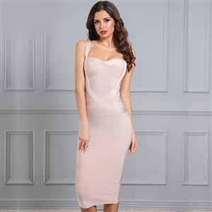 Sleeveless Bandage Dress, Sweetheart Neck Dress, Back Zipper Dress, Midi Bodycon Dress, Shoulder Straps Dress, Bodycon Bandage Dress, Sexy Party Dress for Women, #N15197