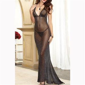 Black Halter V Neck Nightgown, Sexy V Neck See-through Long Nightgown, Black Halter Backless Lingerie Nightgown, Valentine