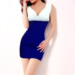 V-Neck Stretch Bodycon Dress, Sleeveless Color Block Package Hip Dress, White and Blue Cocktail Evening Dress, #N9081