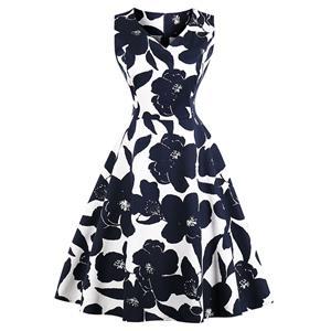 Vintage Sleeveless V Neck Midi Dress, Retro Floral Print Swing Dress, Classical Sleeveless Printed Midi Dress, Women