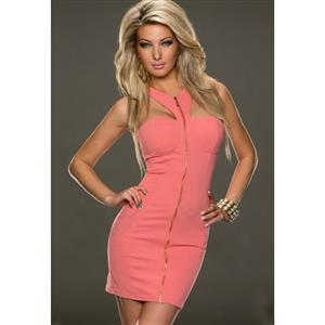 Coral  Bodycon Dress, Sleeveless V-Neck Package Hip Dress, Race Back Cocktail Mini Dress, #N9164