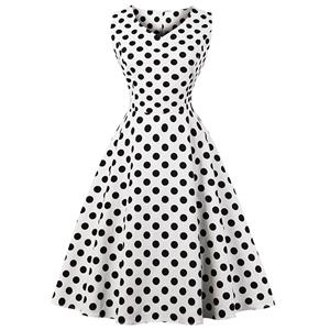 Vintage Sleeveless V Neck Midi Dress, Retro Polka Dot Print Swing Dress, Classical Sleeveless Printed Midi Dress, Women