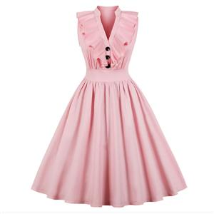 Casual Pink Sleeveless V Neck Ruffled Falbala Midi Summer Day Dress N17238